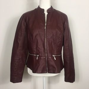 Baccini Maroon Faux Leather Zip Up Jacket